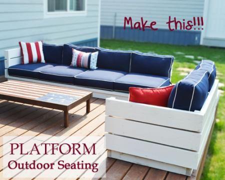 Build a pallet style outdoor platform sofa!  http://ana-white.com/2013/06/plans/platform-outdoor-sectional