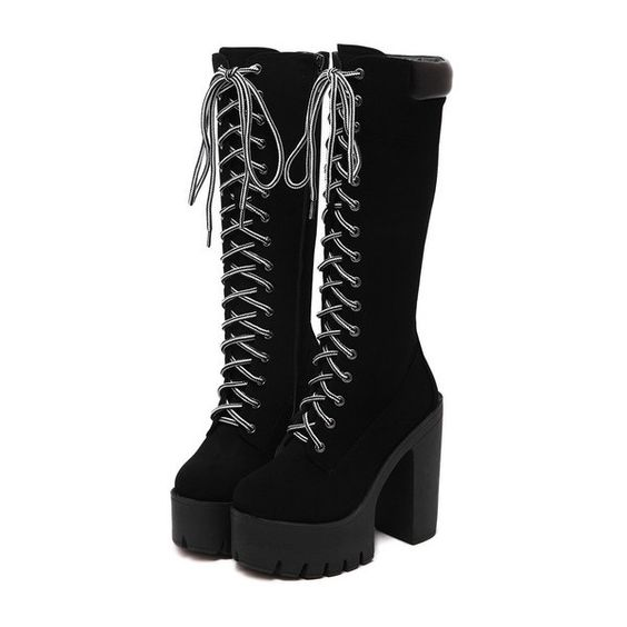 SheIn(sheinside) Black Chunky Heel Hidden Platform Boots ($54
