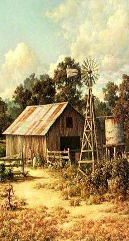 Windmills Paintings And Red Barns On Pinterest