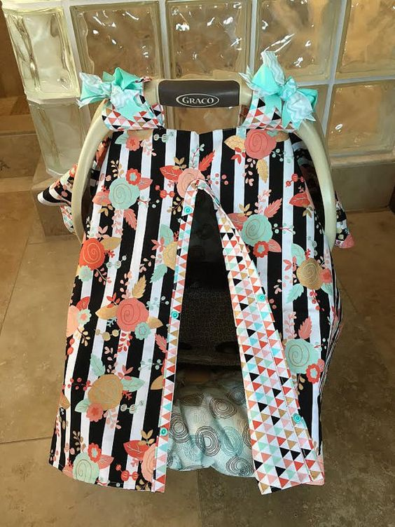 MOD Baby Car Seat Covers Coral Teal and Gold by kitcarsonblue