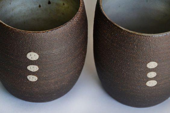 Ceramic Dark Brown & White rustic tea cup by OritCreativeWorkshop, $20.00