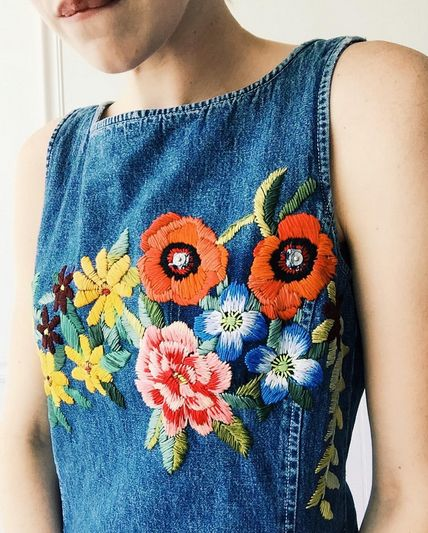 The latest trend to cross the craft–fashion divide, embroidered denim can be…