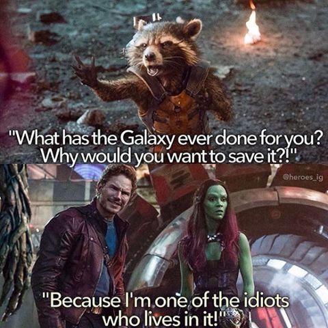Rocket What Has The Galaxy Ever Done For You Why Would You Want To Save It Peter Quill Star Lord Because I M On Funny Marvel Memes Marvel Jokes Marvel
