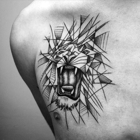 This Lion Tattoo For Guys Features Combination Blackwork And Dotwork To Create A Geometric Looking Piece The Lion Mens Lion Tattoo Tattoos Tattoo Designs Men