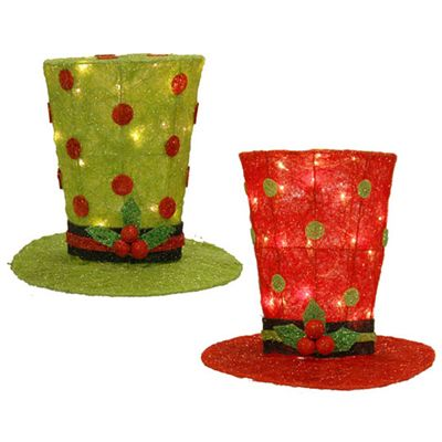 """RAZ Lighted Top Hat Christmas Decoration Set of 2    Red and Green, set includes one of each color      Polka Dot      Made of Sisal      Measures 12"""" - both hats are the same"""