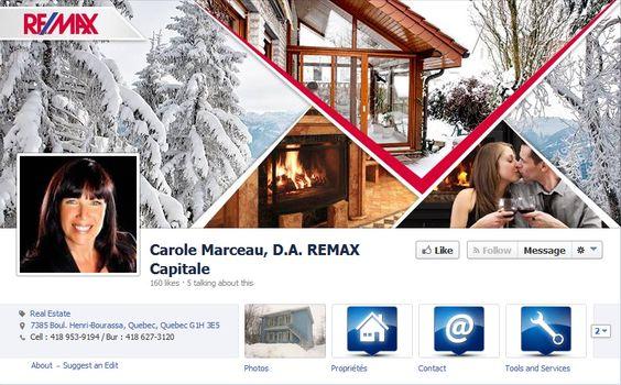 Couverture facebook sous le thème de l'hiver pour RE/MAX #Facebook #REMAX #courtier #immobilier