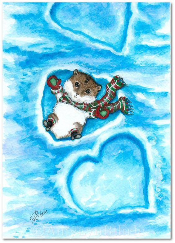 Snow Angel Lil Hamster Winter Fun  Art Prints or by AmyLynBihrle, $8.99