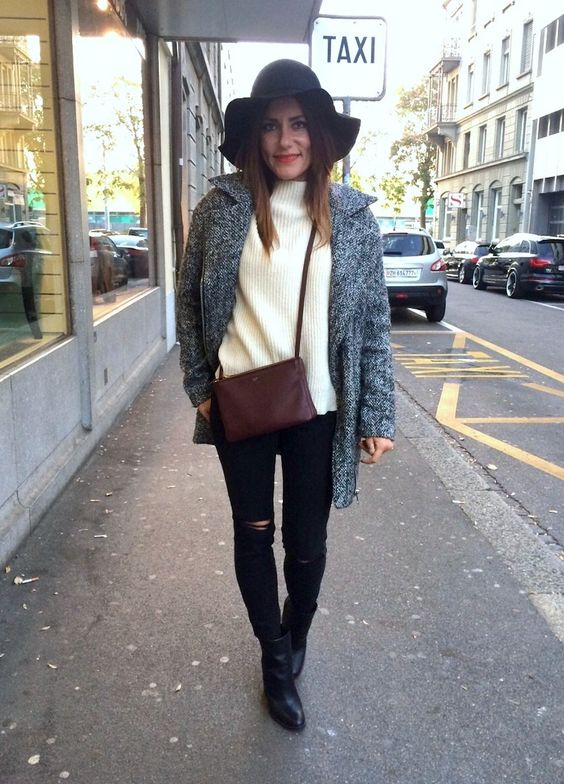 outfit for chilly days, topshop coat, banana republic ankle boots, max&co wool pullover, celine triobag dark red, coccinelle hat fashion blogger