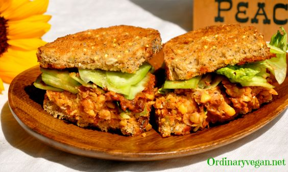 Ordinary Vegan Sun-Dried Tomato & Basil Chickpea Sandwich  easy vegan recipe here: http://www.ordinaryvegan.net/chickpeasandwich/