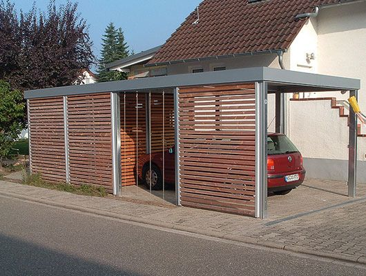 euro carport halb carport halb abstellraum ist das modell varia von overmann car. Black Bedroom Furniture Sets. Home Design Ideas