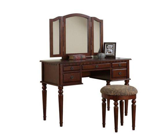 Bedroom Vanity Table Desk Cherry Wood Jewelry Storage Drawer Stool Mirror New #BedroomVanityTable  #Home #Furnishings #Poundex
