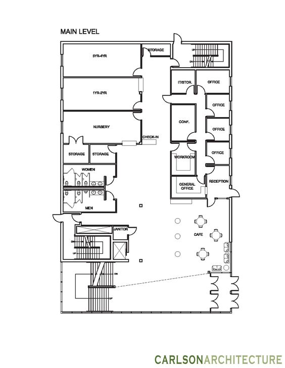 Church Building Plan With Lobby, Church Offices, And Christian