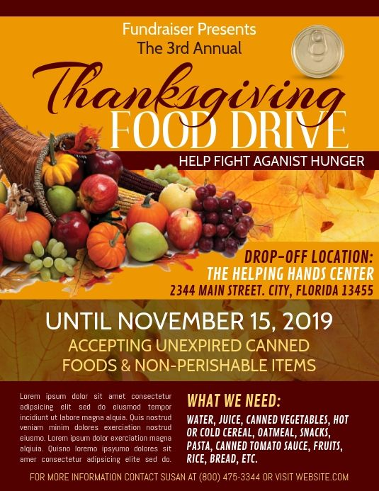 Thanksgiving Flyer Food Food Donation Canned Food