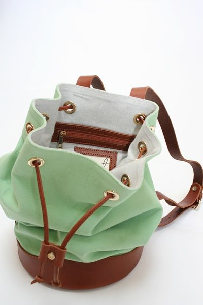 mint green + brown leather