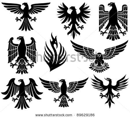 heraldic eagle set (eagle silhouettes, heraldic design elements, eagle vector collection) by Tribalium, via ShutterStock