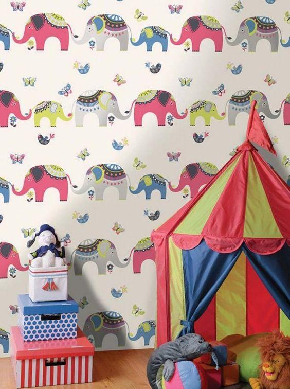 mustertapeten kinderzimmer zirkus freude elephanten
