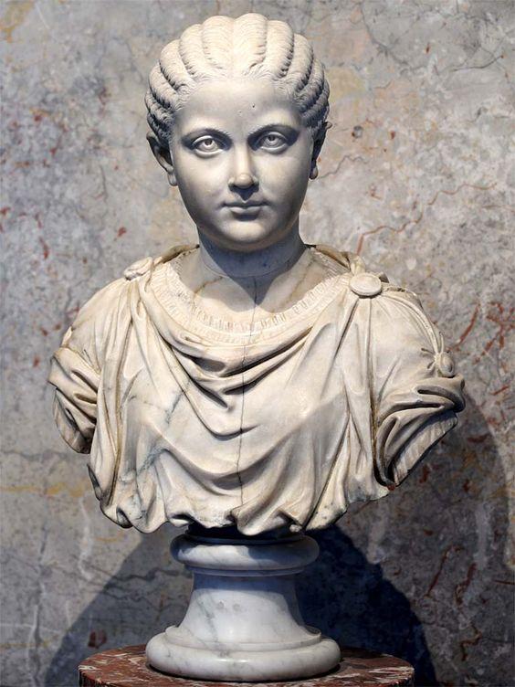Girl, Roman bust (marble), 3rd century AD, (Kunsthistorisches Museum, Vienna).