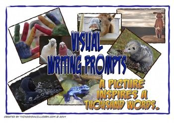 Picture writing prompts are a great way to spark students' creativity.  This is a bundle of two visual writing prompts products.  This set includes twenty animal pictures and twenty pictures of people in various settings (four per A4 sheet) that can be printed, cut and laminated for use in your writing workshop or in a center.