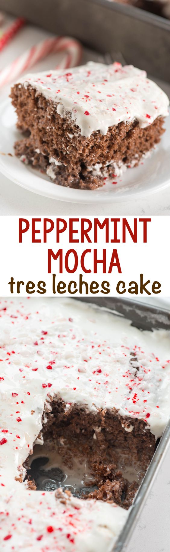Peppermint Mocha Tres Leches Cake - this easy cake recipe is soaked with chocolate milk and full of peppermint mocha flavor!