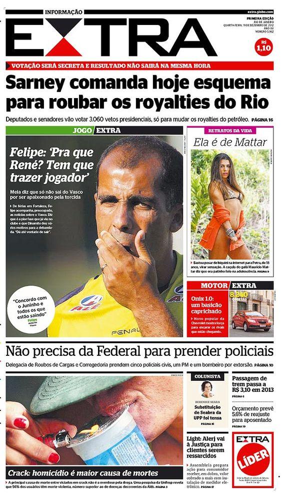 19-12-2012 - Capas do Jornal Extra - Extra Online