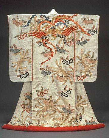 Furisode with Noshi Streamers, phoenix and Paulownias in Tie-dyeing and Embroidery on Red Figured-Satin Ground.19th century, Japan. Kyoto National Museum