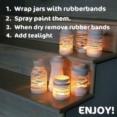 Wrap yarn around jars and paint them. When you remove the yarn or rubber bands., there's a space for light from a votive to shine through.