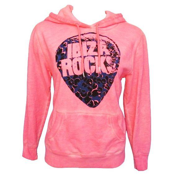 Ibiza Rocks: Fleece Plectrum Hoodie in Pink