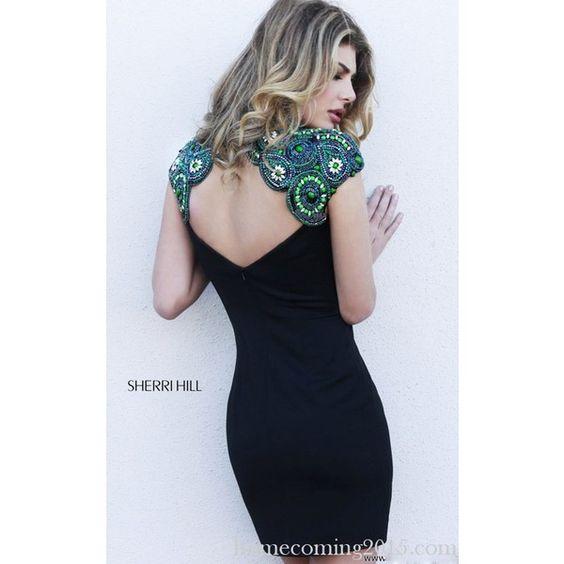 Black Sherri Hill Open Back Homecoming Dress 32038 via Polyvore
