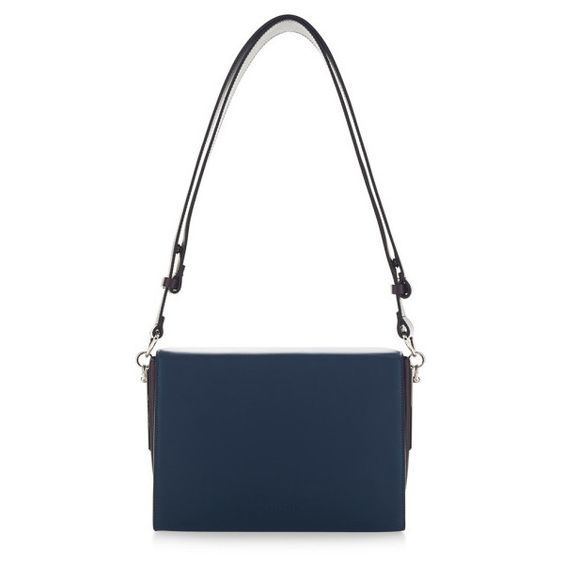 Marni Deep Blue And Dark Aubergine Box Bag ($2,310) ❤ liked on Polyvore featuring bags, handbags, shoulder bags, leather handbags, pocket purse, white handbags, white purse and leather shoulder bag