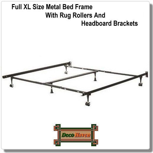 Full Xl Size Metal Bed Frame With Rug Rollers And Headboard