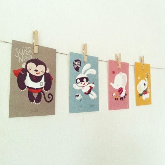 Image of Lot de 4 cartes postales *Pipin*