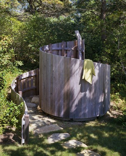 Outdoor shower with spiral fence   South Mountain Company