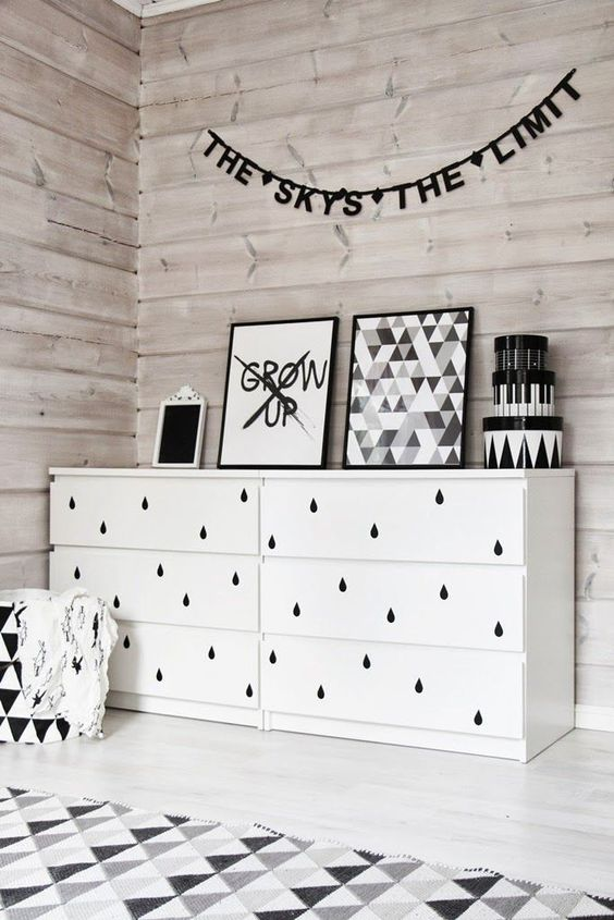 Black drips onto white drawers adds an unusual and effective design detail to this mostly monochrome room | designedforkids.co.uk: