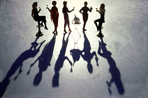 onlyoldphotography:  Loomis Dean: Women modeling apres-ski fashions designed by Fred Spillman cast long shadows on the Palace Hotel's ice rink. St. Moritz, Switzerland, 1958