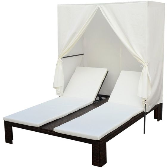 """vidaXL Sun Lounger Poly Rattan Brown. Rattan color: Brown. Cushion & curtain color: Cream white. Material: PE rattan + powder-coated steel frame. Cushion & curtain material: 100% polyester. Overall dimensions: 75"""" x 59"""" x 71"""" (L x W x H)."""