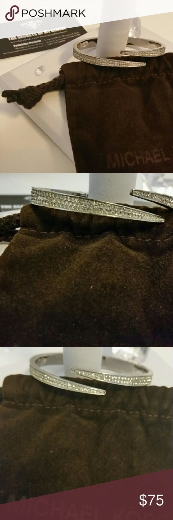 MICHAEL KORS CUFF BRACELET MICHAEL KORS  MATCHSTICK PAVE CRYSTAL  ONE HINGED SILVER CUFF BRACELET   RETAILS $145  BRAND NEW WITH TAG & BAG MICHAEL Michael Kors Jewelry Bracelets