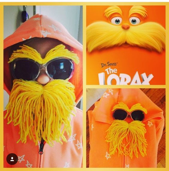 DIY Dr. Seuss Lorax costume. Super easy! I used 2 different shades of yellow yarn. Tie the middle together and hot glue to the sunglasses.  Save the Trees!