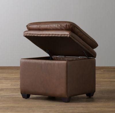 Classic Nailhead Leather Storage Cube