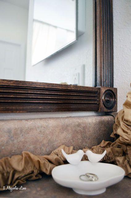 Wood trim diy tutorial and bathroom ideas on pinterest - Decorative trim for bathroom mirrors ...
