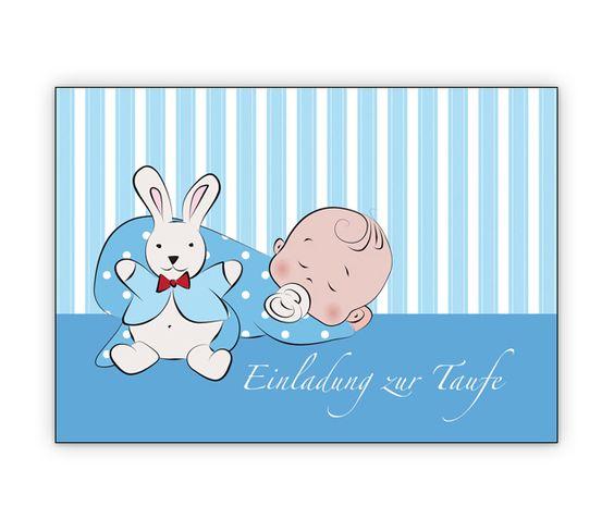 Tauf Einladungskarte (Junge) mit schlafendem Baby und Stoffhasen - http://www.1agrusskarten.de/shop/tauf-einladungskarte-junge-mit-schlafendem-baby-und-stoffhasen/    00000_1_2324, einladen, Familie Geburt, Grusskarte, Kind, Kirche, Klappkarte Baby, Taufe, taufen Einladung00000_1_2324, einladen, Familie Geburt, Grusskarte, Kind, Kirche, Klappkarte Baby, Taufe, taufen Einladung
