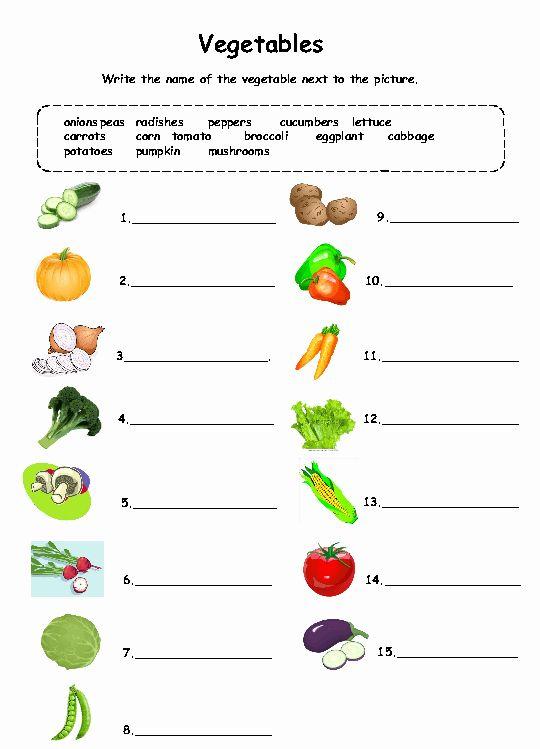 Coloring Vegetables Worksheets Pdf Best Of Ve Ables Worksheet