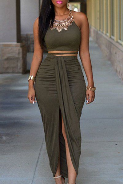 Sexy Spaghetti Strap Tank Top + High-Waisted Asymmetrical Skirt Twinset For Women: