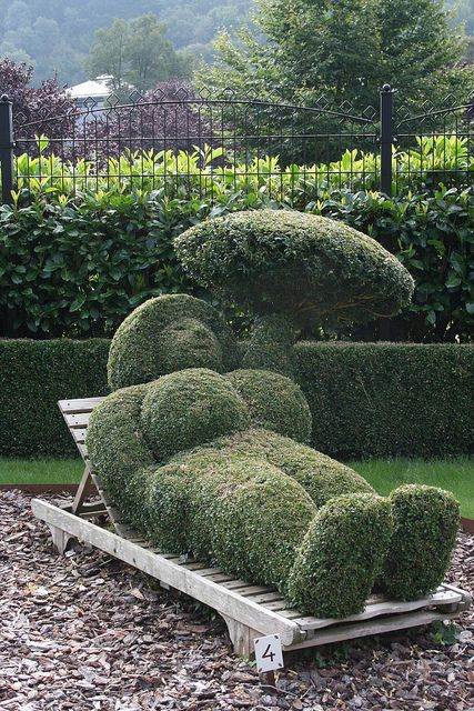 Relaxing Topiary Figure at the Topiary Gardens in Durbuy, Belgium - photo by kpangel68, via Flickr