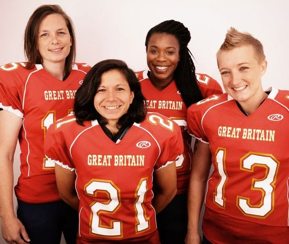 Birmingham Lions and GB Women's American Football Players QB: Jo Kilby with Running backs Ruth Matta, Antoinette Morgan and Laura Moore ahead of the game against Sweden - September 2014