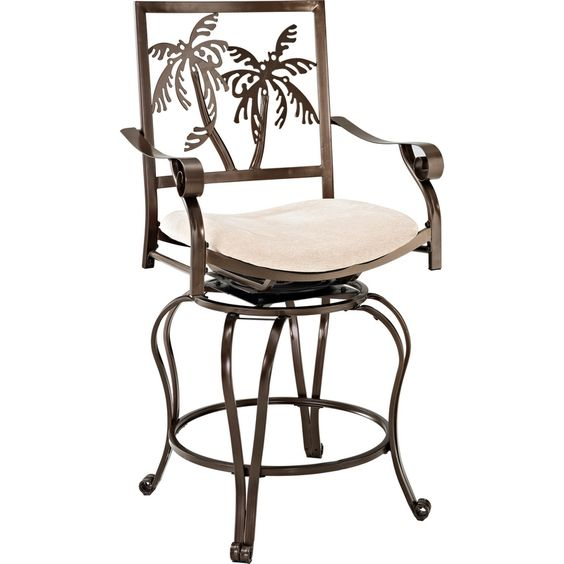 Palm Tree Counter Height Stool W Arms In Bronze Powder