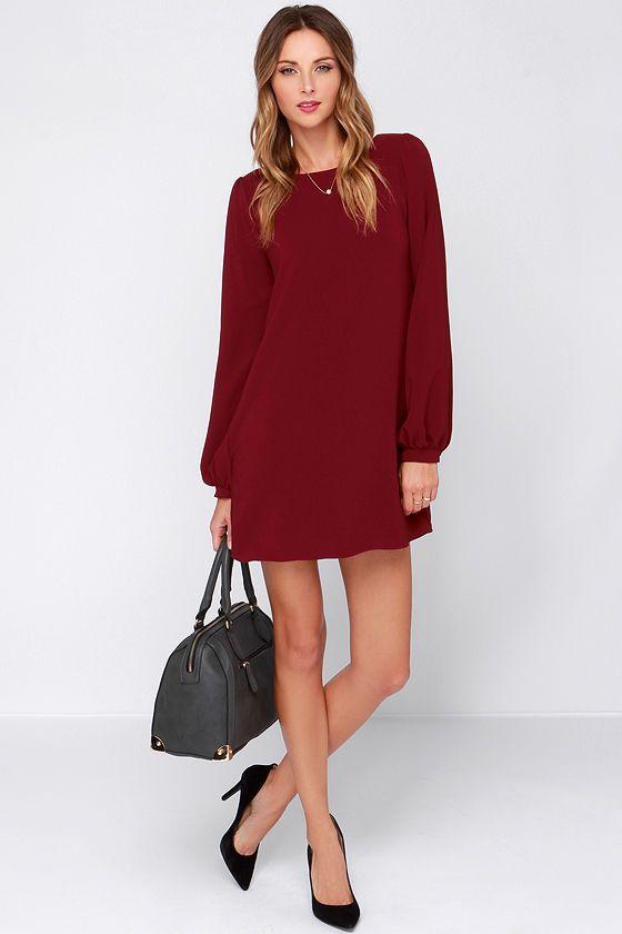 Perfect Situation Burgundy Long Sleeve Shift Dress - Sleeve- You ...