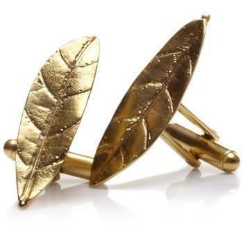 Leaf Cufflinks. The cufflinks are made of real leaves that are are gilded with 24K gold or sterling silver.