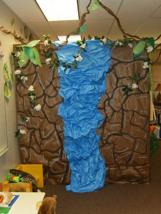 Jungle; Safari; rainforest theme Waterfall classroom decor/display, dramatic play center; bulletin board