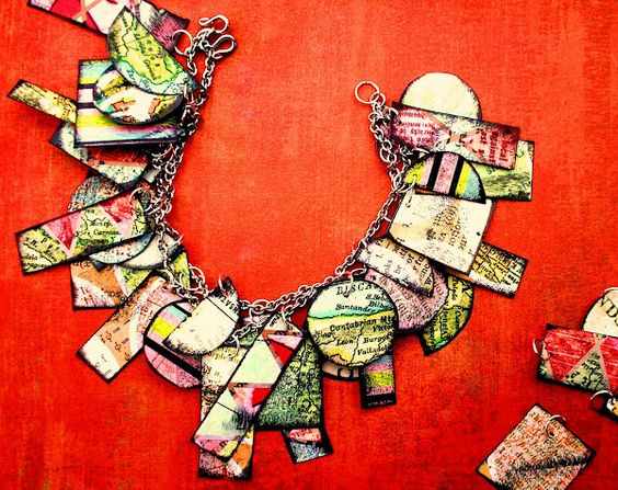 Edgy paper charm bracelet #tutorial  #jewelry. Like this but for longevity I would dip in resin or Future.