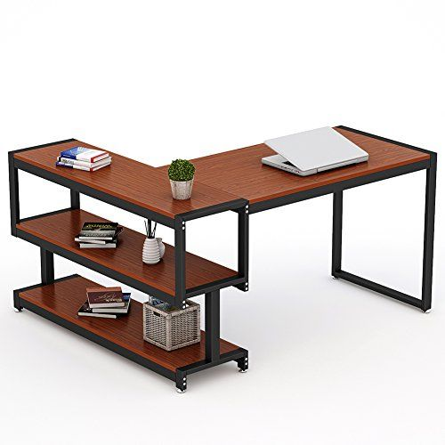 L Shaped Desk Little Tree Industrial 59 Corner Computer Office Desk With Storage Shelf For Home Office Works As Writi Office Computer Desk Desk Desk Storage